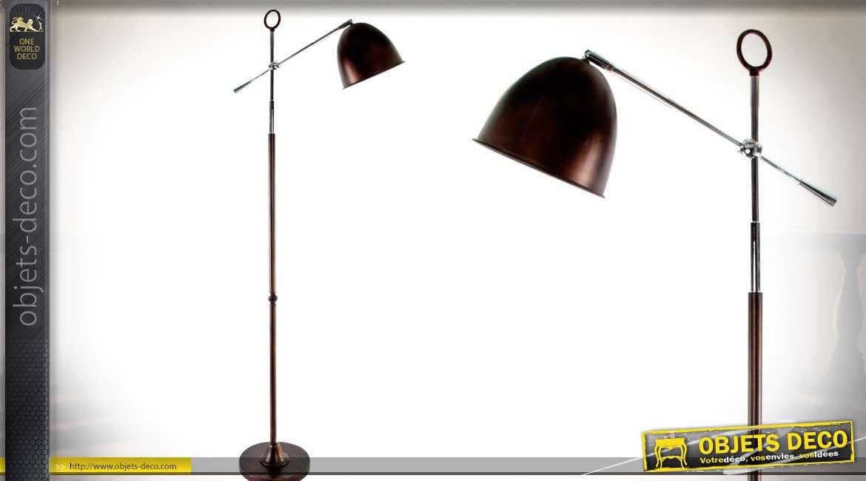 Lampadaire de style rétro orientable en métal finition noir mat 158 cm