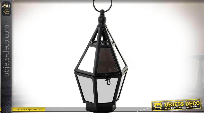 Lanterne design noir et argent avec éclairage à LED 26,5 cm