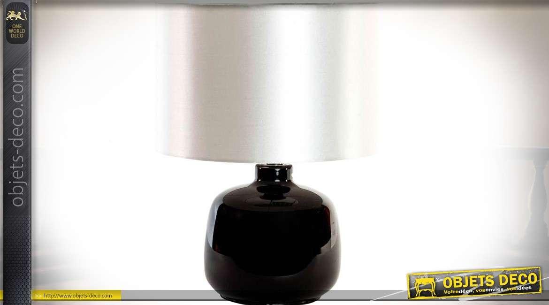 Lampe de salon ou de bureau en céramique noire avec abat jour effet