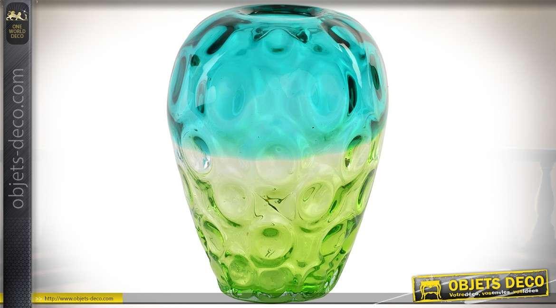 vase en verre color rendu acidul bleu turquoise et vert meraude 24 cm. Black Bedroom Furniture Sets. Home Design Ideas