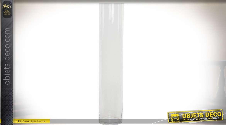Vase cylindrique en verre transparent 60 cm