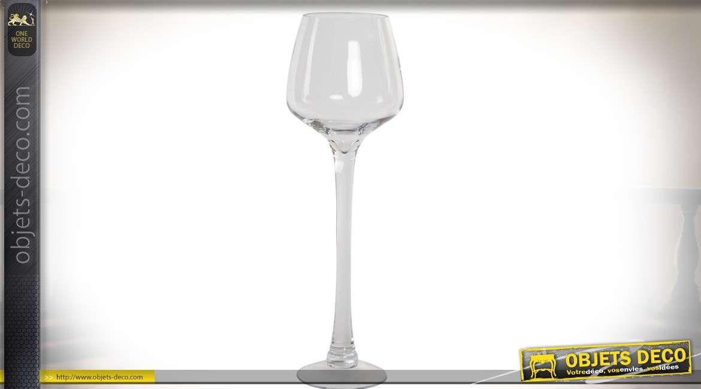 Vase en forme de grand verre pied effet cristal transparent 50 cm for Grand verre a pied pour decoration