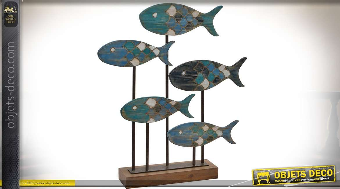 objet d co banc de poissons stylis sur socle en bois et m tal 61 cm. Black Bedroom Furniture Sets. Home Design Ideas