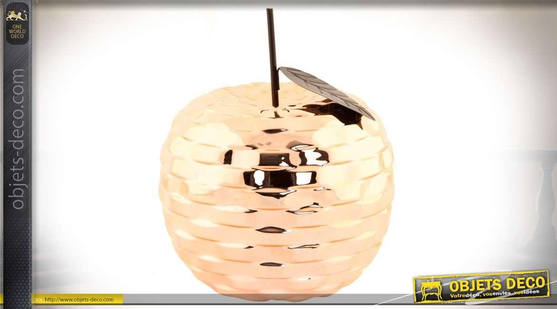 Objet décoratif en forme de pomme aspect métal cuivré brillant 26 cm