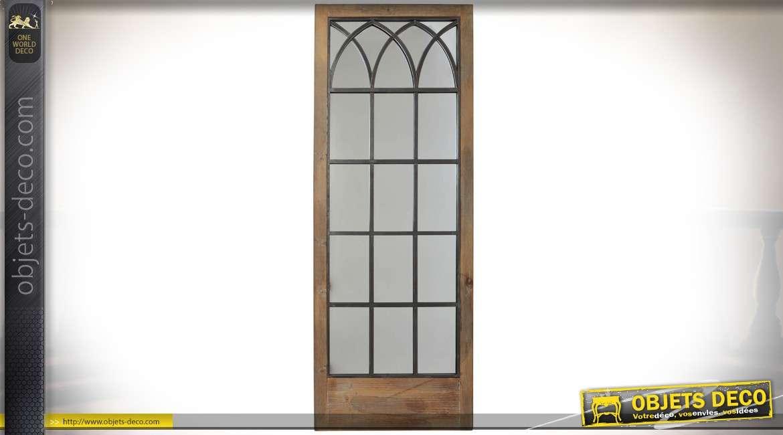 grand miroir en forme de porte fen tre 160 cm en bois vieilli et m tal noir. Black Bedroom Furniture Sets. Home Design Ideas