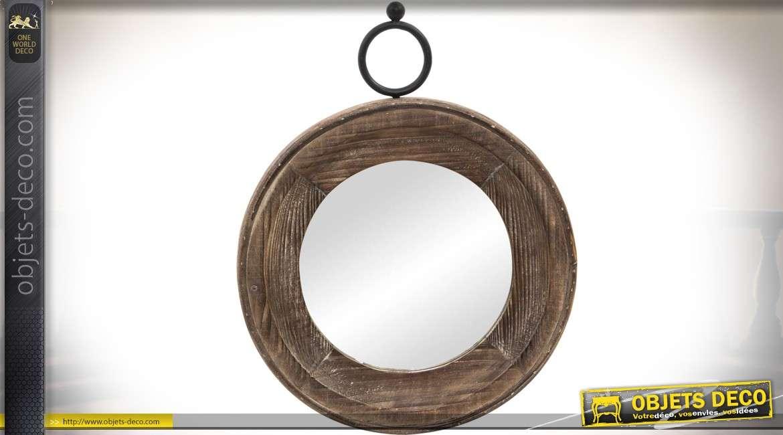 Miroir rond suspendu bois et métal de style rétro et industriel Ø 36 cm