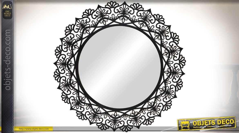 miroir rond encadrement en m tal ajour noir motifs v g taux stylis s 90 cm. Black Bedroom Furniture Sets. Home Design Ideas