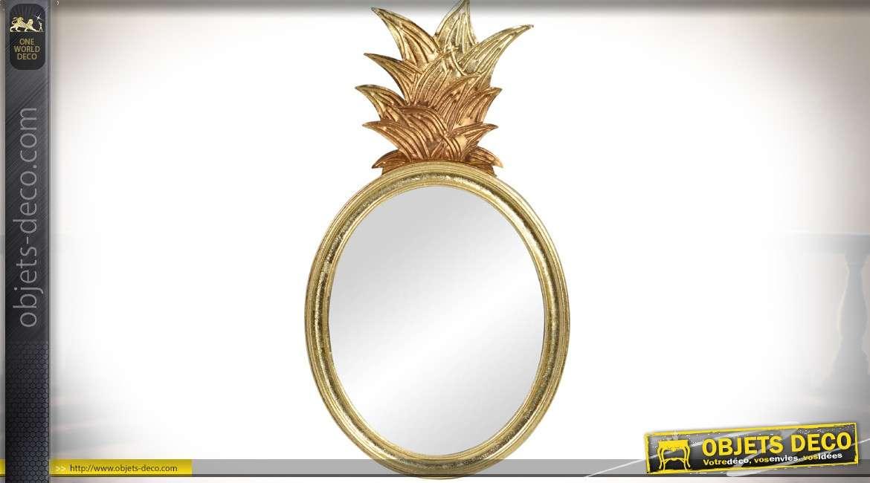 Miroir en métal ovale avec ornement façon ananas finition dorée 76 cm