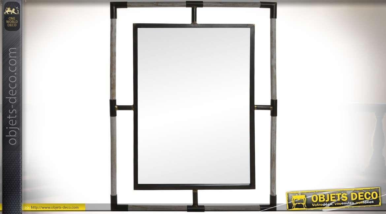 Miroir en bois gris claire et métal brun foncé de style industriel 91 cm