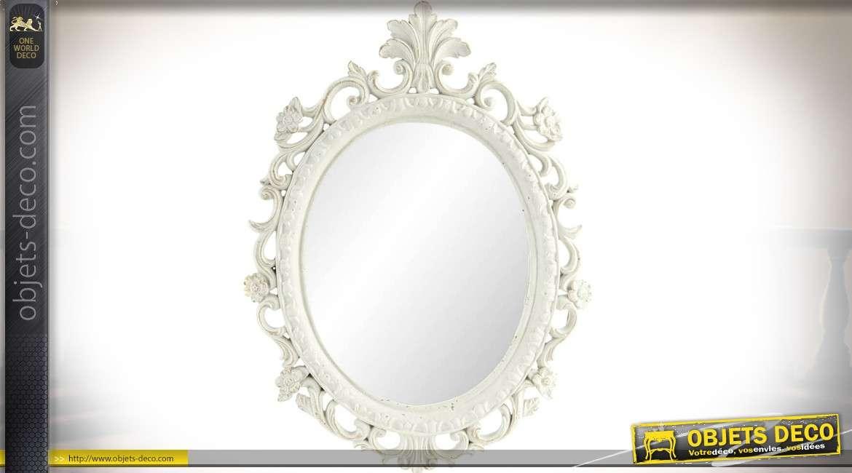 Miroir ovale blanc de style baroque 47 cm for Grand miroir blanc baroque