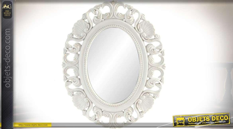 miroir ovale de style romantique en bois sculpt et ajour finition blanche 57 cm. Black Bedroom Furniture Sets. Home Design Ideas