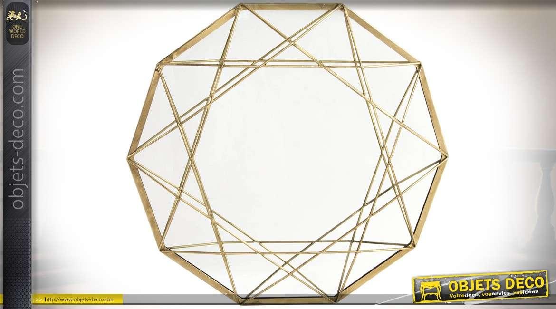 Grand miroir décagone en métal style design finition dorée Ø 62 cm