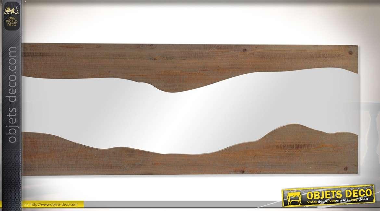 Miroir bois et verre horizontal style brut et irr gulier 120 cm for Grand miroir bois brut