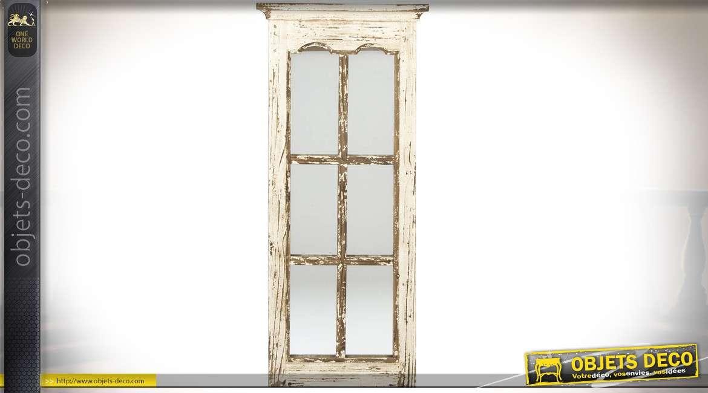 Miroir fen tre carreaux en bois et m tal style r tro - Miroir style fenetre ...