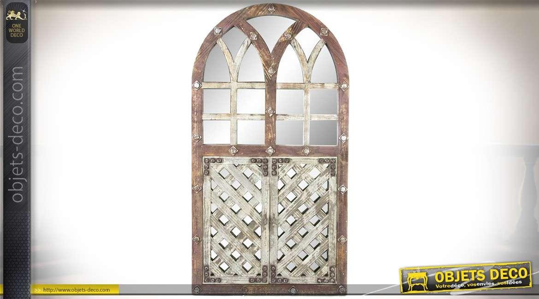 Miroir rétro porte-fenêtre en arcade en bois vieilli patine deux tons 153 cm