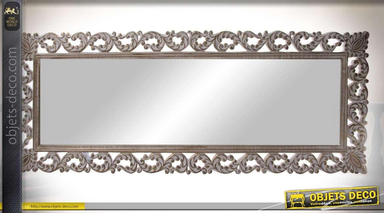 Grand miroir horizontal en bois de style baroque patine vieillie 164 cm for Miroir horizontal