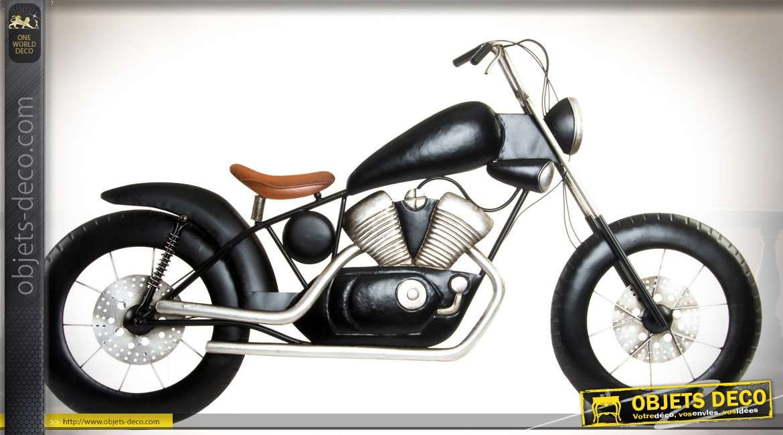Moto Retro Coloris Noir En Forme De Decoration Murale En Metal Et En