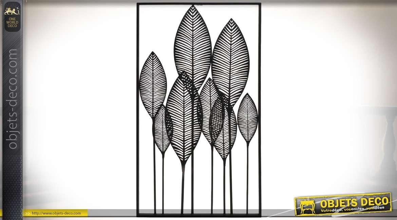 Tableau mural en métal grandes feuilles stylisées en métal noir ...
