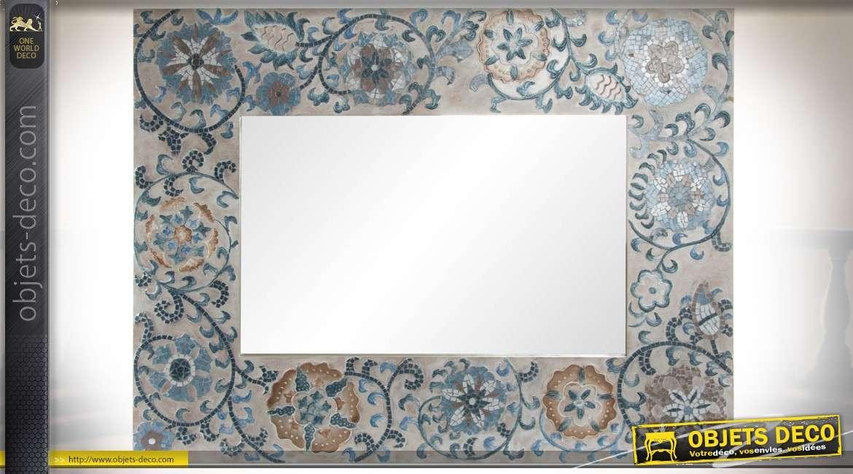Miroir mural horizontal en bois ornement fa on tapisserie ancienne 102 cm for Miroir horizontal