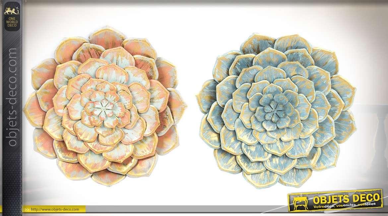Duo de décorations murales florales en métal et en relief coloris Ø 49 cm
