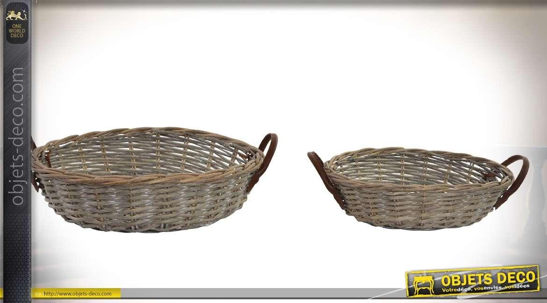 Série de deux corbeilles rondes en osier aspect vieilli Ø 45 cm