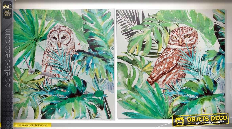 Série de 2 toiles carrées 80 x 80 cm peintes à la main : thème les hiboux