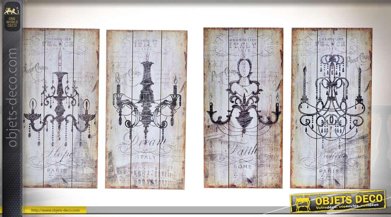 Ensemble de 4 décorations vintages sur bois vieilli à motifs d'anciens lustres