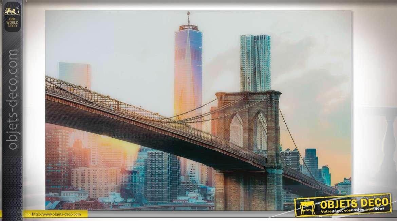 grand tableau sous verre pont de brooklyn new york 120 x 80 cm. Black Bedroom Furniture Sets. Home Design Ideas