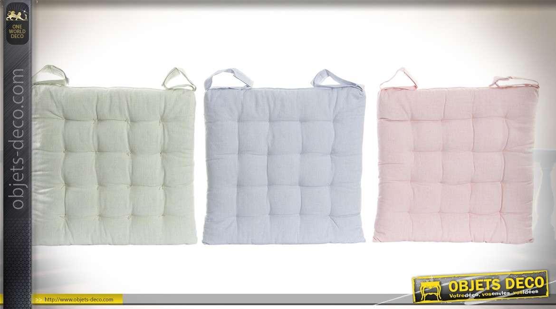 Serie De 6 Coussins Chaises En Coton Capitonne 3 Couleurs Pastel 40 X Cm