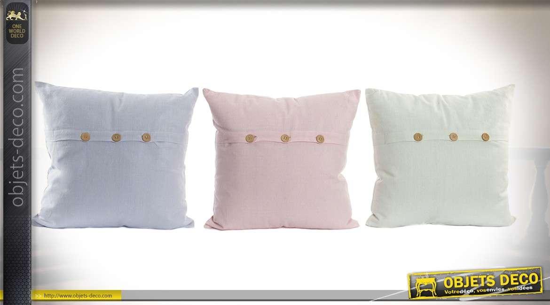 Série de 3 coussins coloris pastel en coton avec bouton de couture 40 x 40 cm