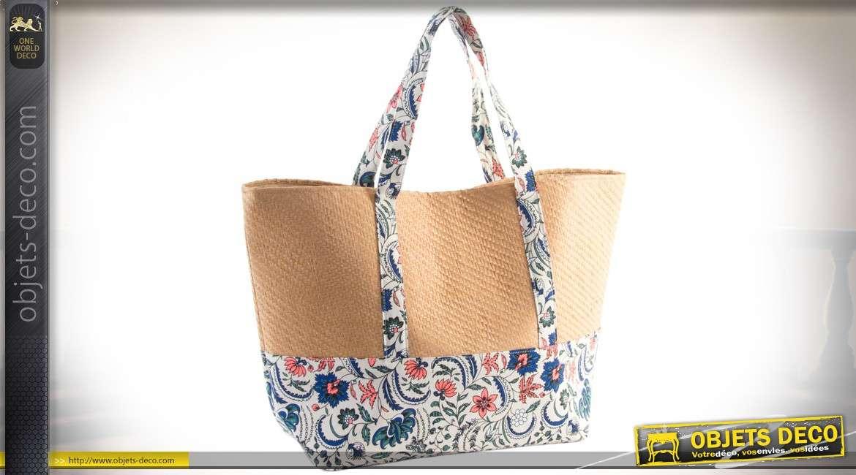 sac de course ou sac de plage en osier tress coloris naturel et tissu fleurs. Black Bedroom Furniture Sets. Home Design Ideas