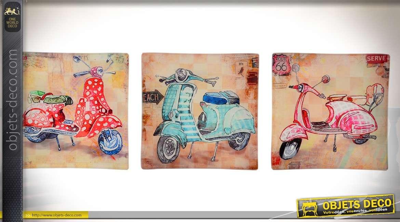 Ensemble de 3 plateaux vide-poches en verre style vintage thème Vespa 15 x 15 cm