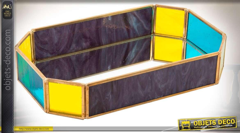 Plateau octogonal en verre et métal de style Art Déco