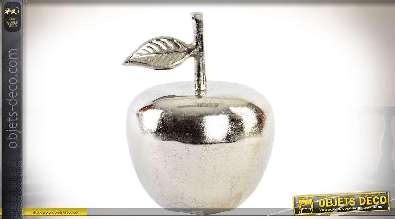 Objet décoratif en aluminium argenté en forme de pomme décorative