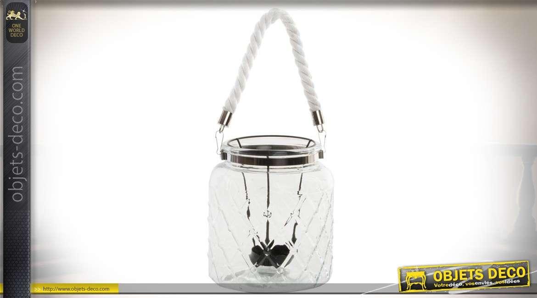 Bougeoir suspendu en verre à motifs ciselés en losanges et métal chromé Ø 16 cm