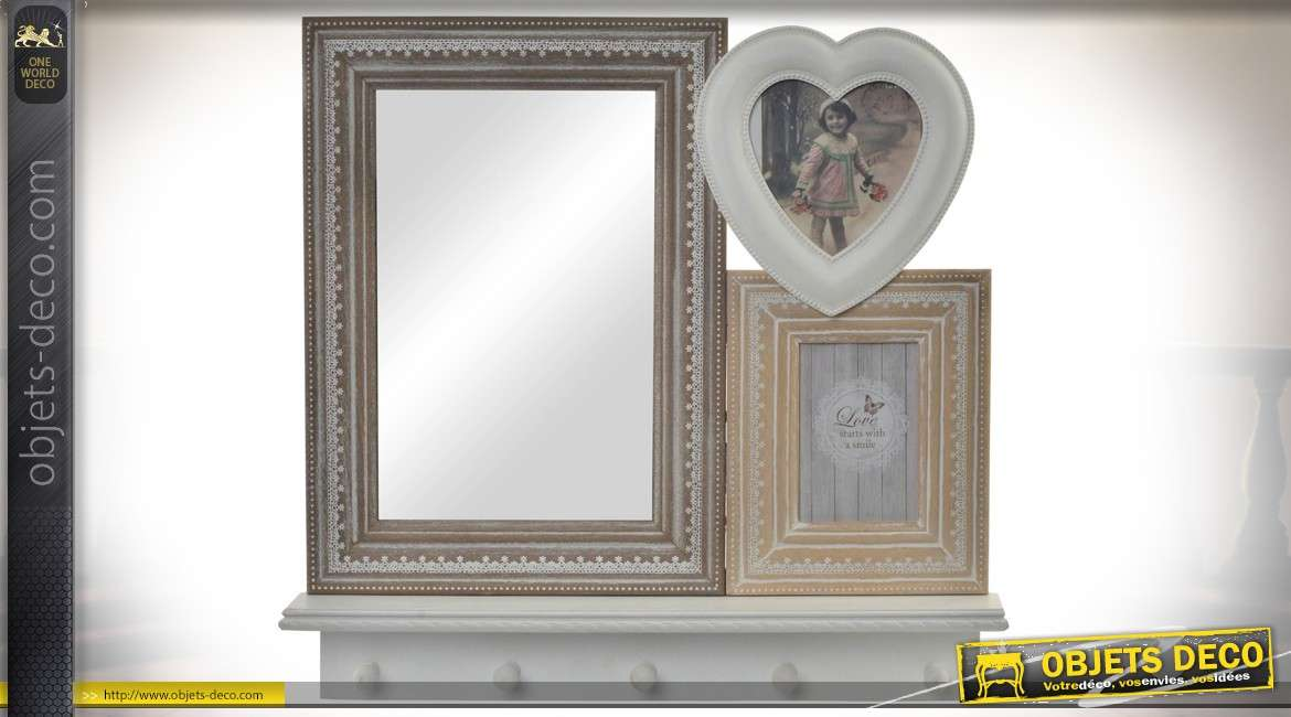 miroir d coratif mural avec porte photos et crochets de suspension bois vieilli. Black Bedroom Furniture Sets. Home Design Ideas