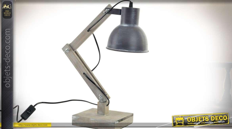 Lampe d atelier de bureau en bois et métal style rétro cm