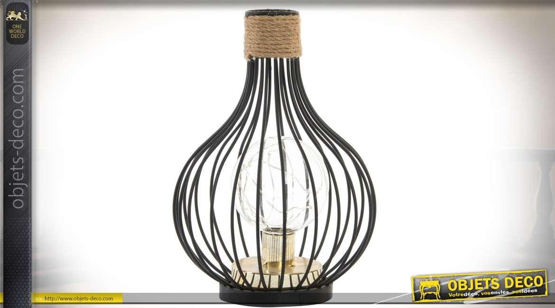 Lampe De Table En Metal En Forme De Cage Noire Avec Ampoule A