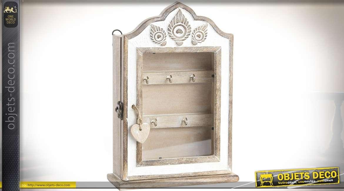 Armoire cl s en bois naturel blanchi et patine blanche avec porte en vitrine - Blanche porte suivi de colis ...