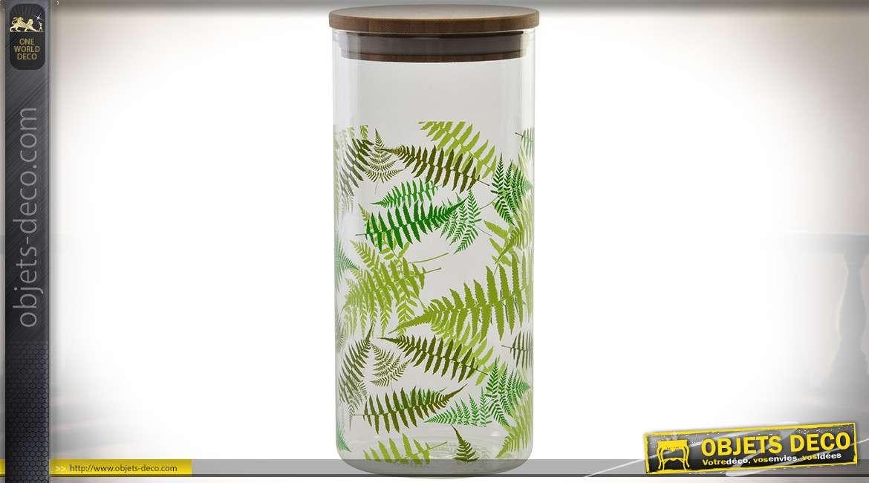 Série de 6 pots cylindriques en verre avec couvercles en bambou 1,4 litre