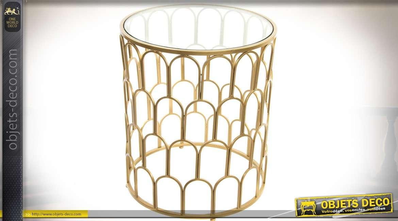 Bout de canapé cylindrique en verre et métal doré de style ...