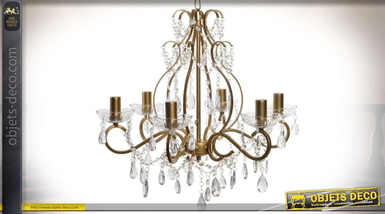 lustre en m tal dor de style baroque italien avec perles et pampilles 43 cm. Black Bedroom Furniture Sets. Home Design Ideas