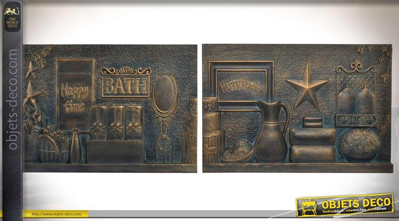 Duo déco murales en bois finition bronze doré vieilli sur le thème du bain 60 cm