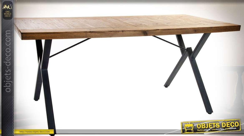 plateau de industriel Table bois métal style et en bois xBEWCrQdoe