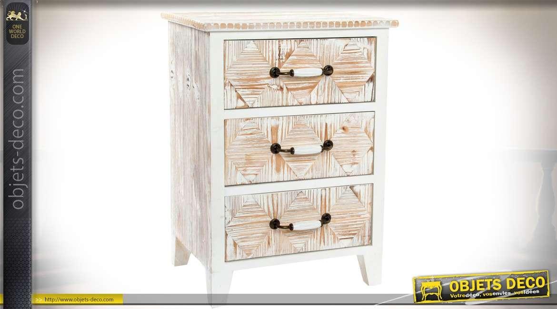 table de chevet 3 tiroirs r tro patin blanc et marqueterie en losanges 63 cm. Black Bedroom Furniture Sets. Home Design Ideas