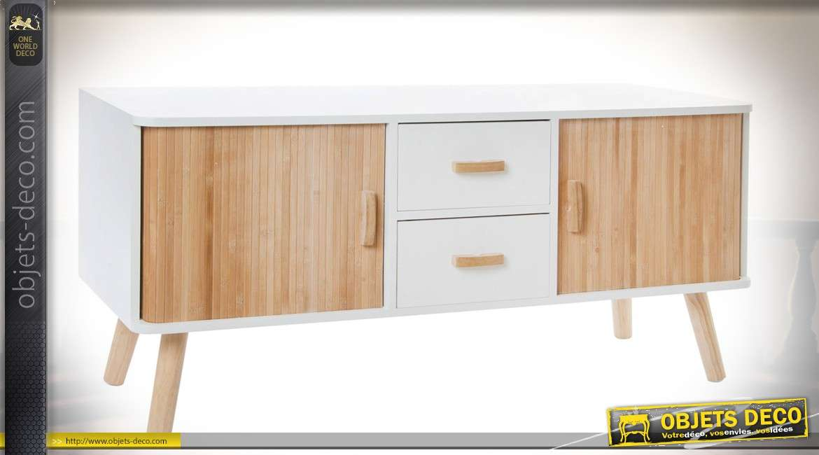 meuble tv scandinave bois naturel et blanc avec deux portes et deux tiroirs. Black Bedroom Furniture Sets. Home Design Ideas