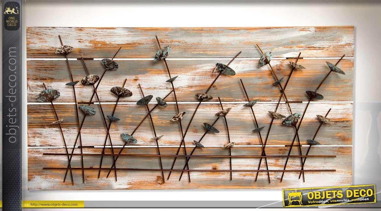Décoration murale en bois et métal, fresque de plantes