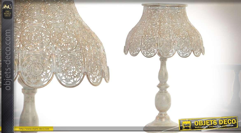 lampe de salon en m tal coloris cr me nacr avec abat jour r tro 49 5 cm. Black Bedroom Furniture Sets. Home Design Ideas