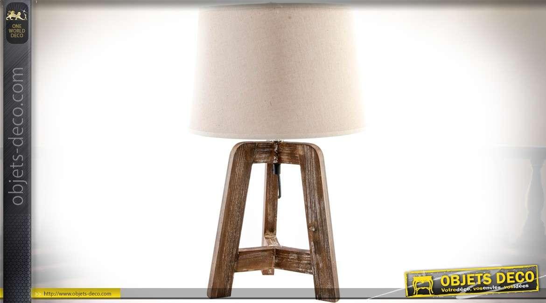 Lampe rétro, rustique et indus sur trépied en bois abat-jour coloris lin écru 48 cm