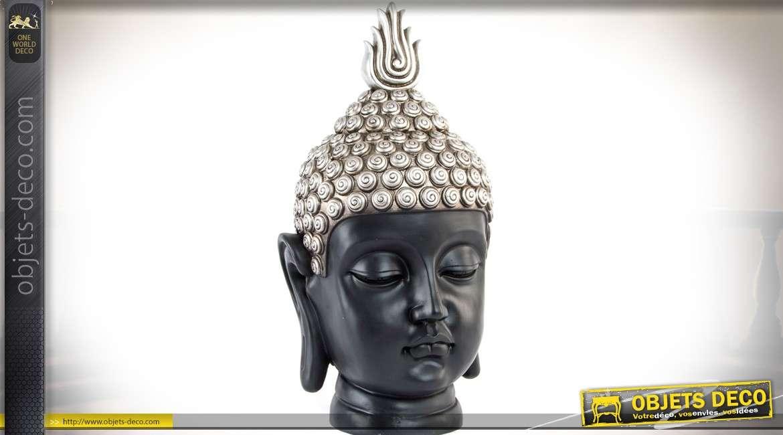 Statuette tête de bouddha finition noir mat et argent 49 cm